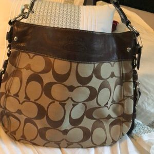 Coach leather and fabric shoulder purse